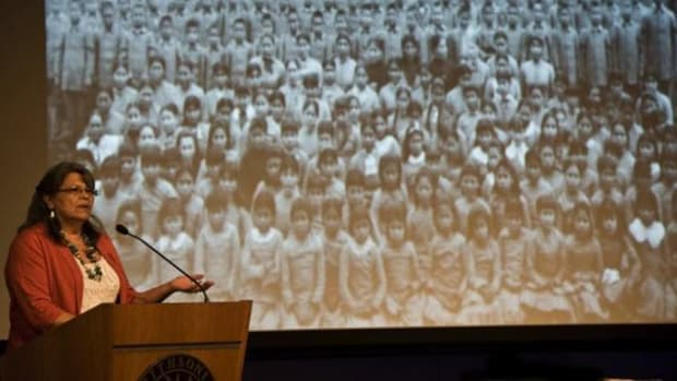 At a Protocols of Peace symposium at the NMAI, Beverly Cook shared how the condolence ceremony can help Natives cope with historical grief. (Stephen Lang/courtesy National Museum of the American Indian)