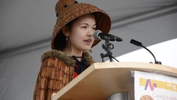 Performer and activist Ta'Kaiya Blaney, 14, speaks at a Vancouver climate rally in 2015.