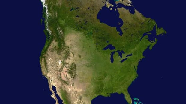 North America as seen from a contemporary satellite photo. The only permanent ice sheets left from the last ice age is the one that covers Greenland, along with some small remnants in Canada such as the Barnes Ice Cap. The Greenland ice sheet averages over 1 mile in thickness and in some places is almost 2 miles thick. From about 35,000 years ago until about 11,000 years ago all of Canada and parts of Alaska and the continental United States were covered in similarly massive ice sheets.