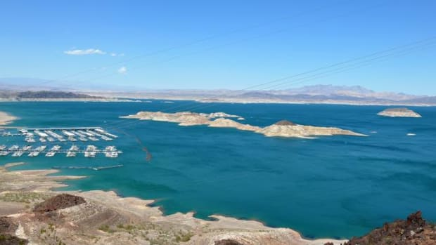 Aerial view of Boulder Basin, a recreational area on Lake Mead. The Gila River Indian Community has signed an agreement to preserve water in the Colorado River Basin and Lake Mead.