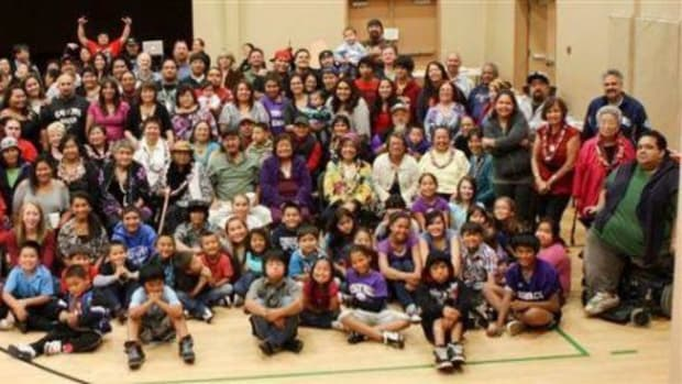 Group photo of the Nooksack 306, descendants of Annie George, who have been fighting disenrollment from the Nooksack tribe since 2013.