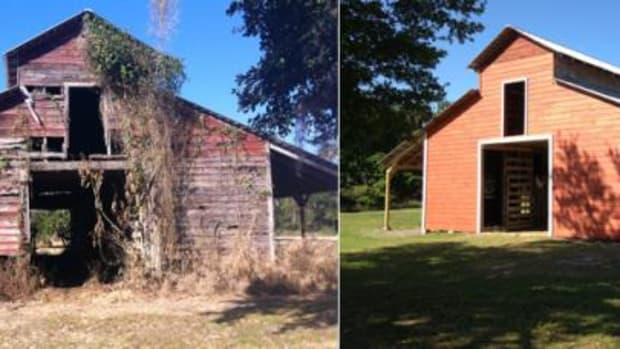 The front façade of the Red Barn in January 2012 (left) and after some renovations in March 2013 (right).