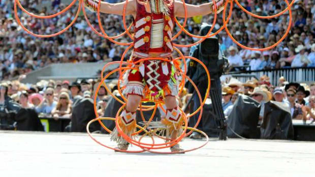 Dallas Arcand performing at the 2012 World Hoop Dance Championship