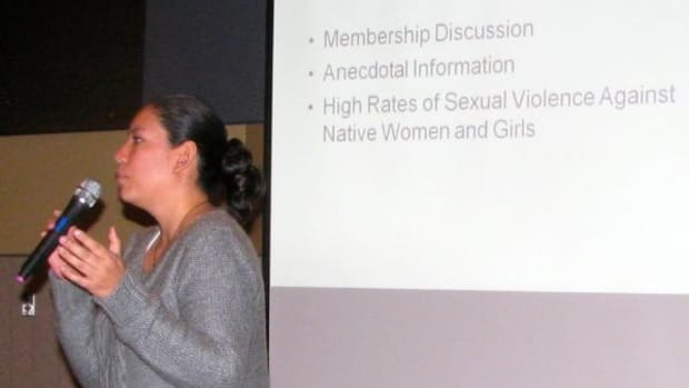 Guadalupe Lopez of the Minnesota Indian Women's Sexual Assault Coalition (MIWSAC) and a member of the Leech Lake Ojibwe, presents on the sex trafficking on Minnesota women and girls. (By Michael Meuers)