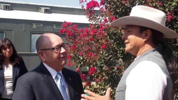 Chickasaw Nation Governor Bill Anoatubby on the set of Te Ata with actor Gil Birmingham. Photo by Brian Daffron.