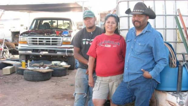 The Gordy family, from left: Trayston, Betty and Larry, Navajo, have lived in the Bennett Freeze area through all the issues.