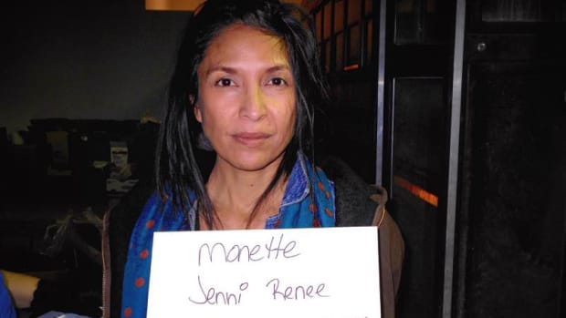 For mugshots, jail guards scrawled arrestees' names on sheets of paper and snapped photos with a small digital camera. Here is Jenni Monet's mugshot, bearing her Turtle Mountain Chippewa family name Monette; she is enrolled Laguna Pueblo.