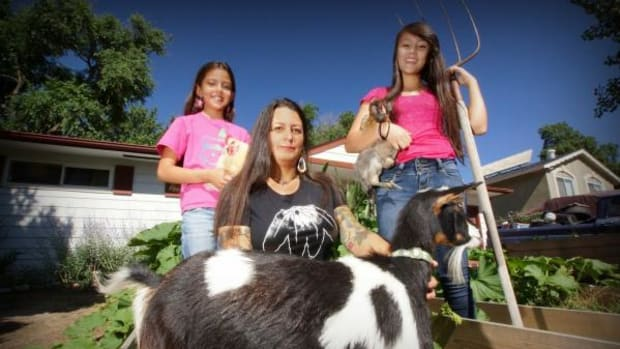 Bella, Monycka, and Shashana Snowbird raise chickens, rabbits, goats, and produce enough organic crops to keep themselves, friends and neighbors fed.
