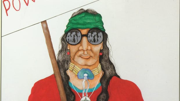 A protest image by Native artist Sam English.