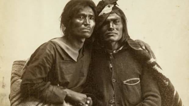 A Navajo two-spirit couple is seen in this historic photo from the collection of the Museum of New Mexico.