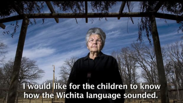 This screenshot shows Doris Jean Lamar McLemore in a video by The Wichita Eagle.