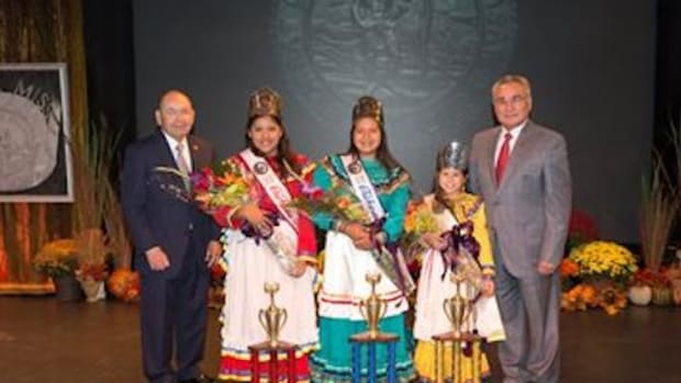 Chickasaw Nation Governor Bill Anoatubby, left, and Lt. Governor Jefferson Keel, right, are shown with the 2014-15 Chickasaw princesses selected Monday night at the Ada High School Cougar Activity Center. Selected to represent the tribe at events and functions through the United States over the next year are 2014-15 Chickasaw Princess Taylor Nicole Weems, Chickasaw Junior Princess Maegan Ann Carney, and Little Miss Chickasaw Jazlyn Renee Key.