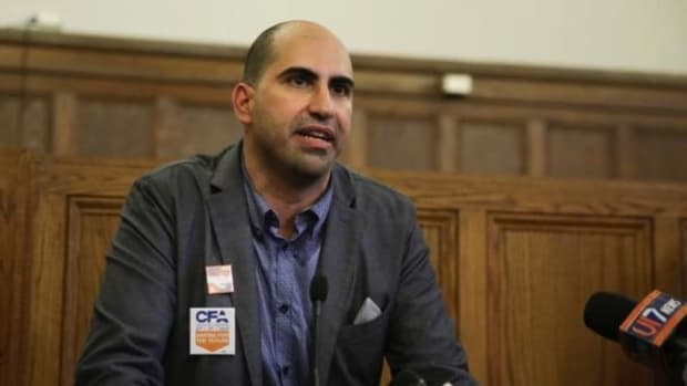Professor Steven Salaita, whose job offer was rescinded by the University of Illinois, gave a public response Sept. 9, 2014 at the university YMCA in Urbana, Illinois.