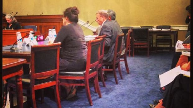 From left, National Congress of American Indians Executive Director Jacqueline Pata, Cherokee Nation Deputy Chief Joe Crittenden and Museum of American Indian Director Kevin Gover appeal to the U.S. House Resources Subcommittee on Indian and Alaska Native Affairs.
