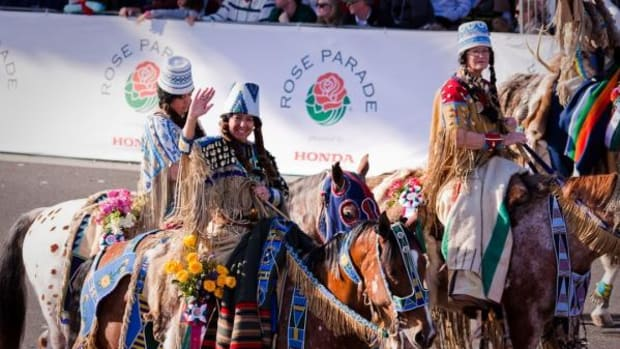 Calizona Appaloosa Horse Club members dressed as Native Americans during the Rose Parade in 2014. On January 1, 2016, the club once again dressed in faux Native American attire. The club says the Nez Perce have given them their blessing to play Indian during the parade.
