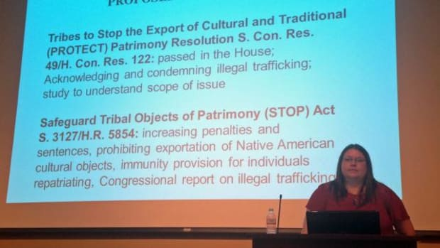 Honor Keeler, the Association on American Indian Affair's International Repatriation Project Director, recently posed the question if new laws are needed to replace or strengthen those like the Native American Graves Protection and Repatriation Act in part designed to aid tribes with protection of sacred items in the U.S. AAIA's Repatriation Project conference was held September 26-27 at the Isleta Resort and Casino in New Mexico.