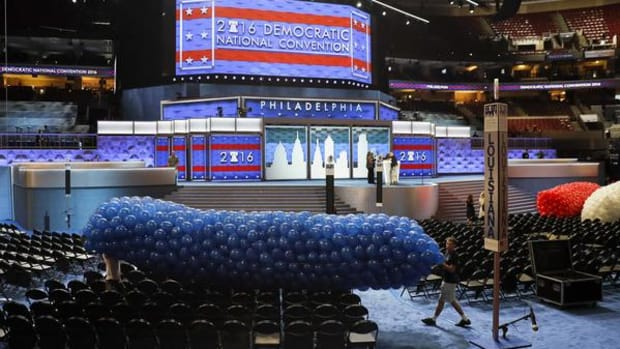 The final preparations on Friday ahead of the kick off of the Democratic National Convention this morning.
