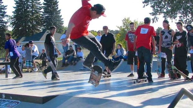 A skater catches air during a skate competition at the grand opening of the Red Lake Skate Park on September 14. (Michael Meuers)
