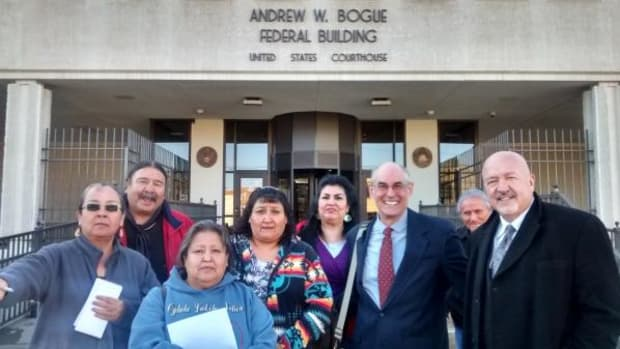 Pictured are clients and their attorneys in the Oglala Sioux Tribe v. Luann Van Hunnik case.