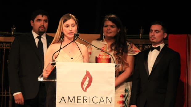 Four students spoke during the American Indian College Fund 2017 New York Flame of Hope Gala held April 25 at Gotham Hall. They are, from left, Len Necefer, Jennah Seaver, Robin Máxkii, and Justin Bauswell.