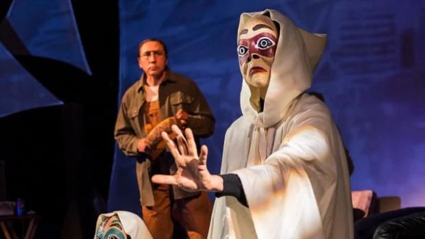 """Brían Pagaq Wescott (Athabascan, Yup'ik) and Kholan Studi (Cherokee) assume the roles of spirits during an interlude in the play, """"They Don't Talk Back."""" Duane Minard (Yurok, Piaute), as Paul the grandfather, tells an ancient Tlingit legend."""