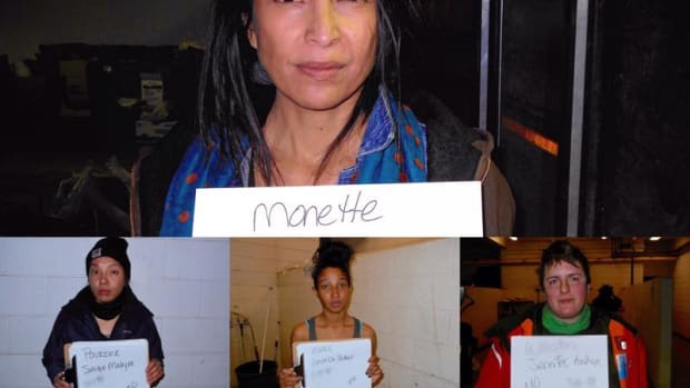 Detained journalist Jenni Monet and the women she shared a cell with overnight in February.