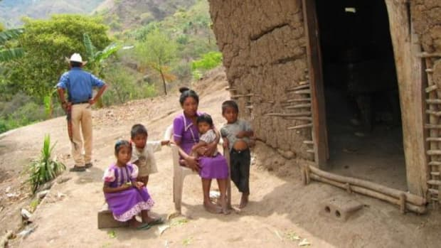 House with family in a small mountain village in the mountains of Copan, Honduras, at the border to Guatemala.