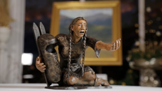 This miniature shows part of the design by Harvey Pratt for the proposed Sand Creek Massacre memorial.