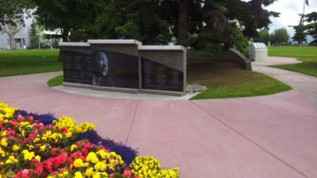 The newly renovated Martin Luther King Living Memorial in Anchorage now features reflective panels facing one of Anchorage's busy downtown streets.