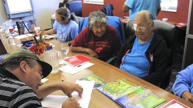 Elizabeth Kingbird joins Eliza Johnson and others to finish the Powwow book.