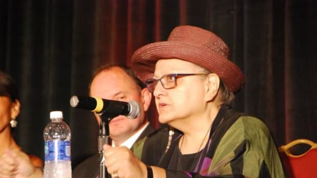 Suzan Shown Harjo speaks on a panel about the Washington pro football team name and mascot during the 2015 Native American Journalists Association in Arlington, Virginia, on July 11.