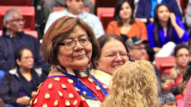 Cecilia Fire Thunder, shown in this 2013 photo at the Black Hills Pow Wow, offered a presentation on lateral oppression in a webinar sponsored by Futures Without Violence.