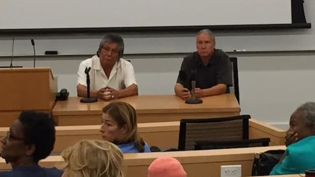 Sheldon Wolfchild (Dakota), left, and Steven Newcomb (Shawnee, Lenape), field questions after a screening of their documentary The Doctrine of Discovery: Unmasking the Domination Code at the Fordham University School of Law in New York City on September 17, 2015.