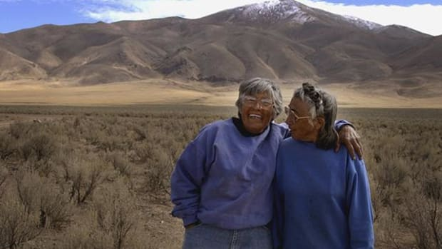 Carrie, left, and Mary Dann pose together on their ranch near Crescent Valley, Nev., Oct. 3, 2002. (AP Photo/Laura Rauch)