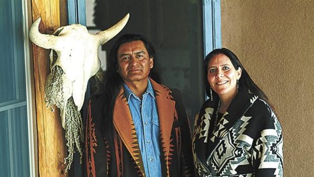 Walter Whitewater, Navajo, chef at Red Mesa Cuisine in Santa Fe, with his business partner Chef Lois Ellen Frank, Kiowa.