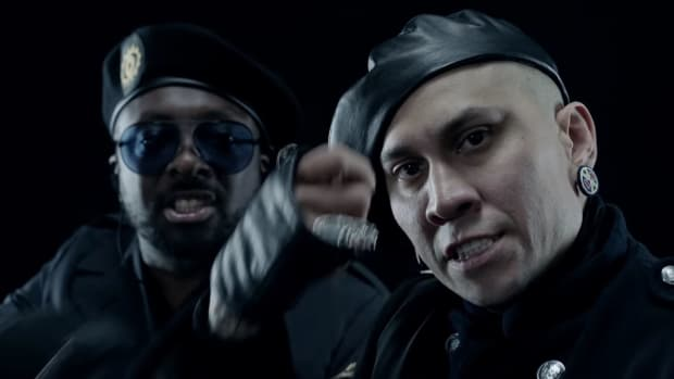 Will.i.am, Taboo and Apl.De.Ap (not pictured) recite extended lyrical verses in a six-minute revolutionary and social activist militant-themed video, 'Ring the Alarm pt.1, pt.2, pt.3'