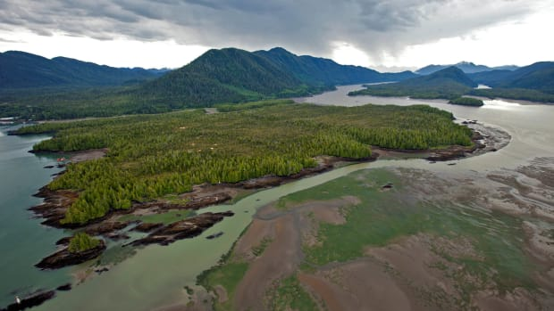 Lelu Island in British Columbia, Canada, site of a proposed LNG facility, since canceled.