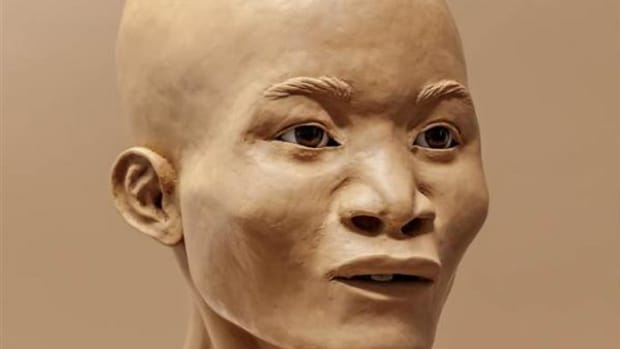 The reconstructed face of Naia, who was found in a sinkhole 20 miles north of Tolum.