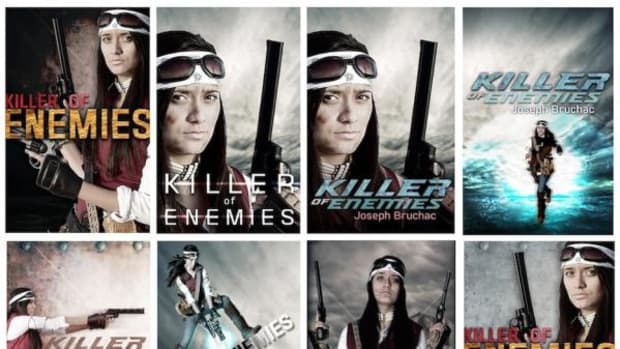 "The cover art for ""Killer of Enemies"" stars Raven-Sky as Lozen. These were the many possibilities for the cover."