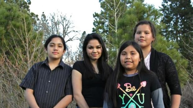 Pictured, from left, are Pit River tribal members Tyler LaMirande, 7th grade; Mikaela Gali-LaMirande, 10th grade; Talissa Gali, 5th grade; and Alexis Elmore, 7th grade. They have reported systemic bullying targeting them and other Indian students at Burney Junior-Senior High School and Burney Elementary in Northern California.