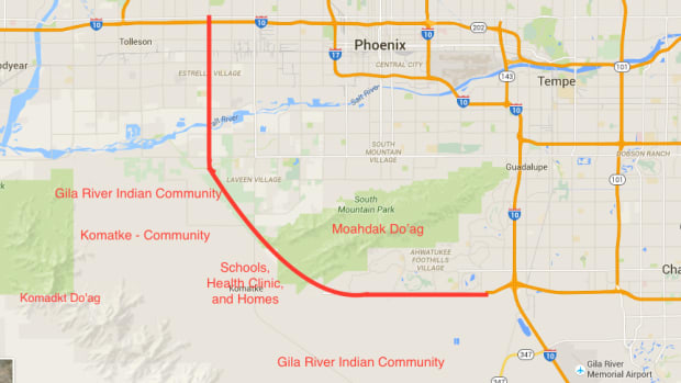 The Loop 202 expansion – a 22-mile, 8-lane highway, which will run west from Chandler, Arizona, threatens the Moahdak Do'ag sacred site.