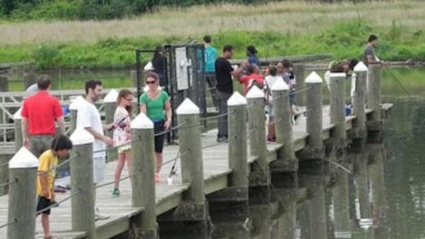 Group fishing at the Bladensburg Waterfront Park.