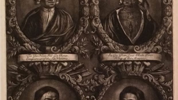 "One of the earliest items in the ""Tattooed New York"" exhibit are these mezzotints from 1710. They feature portraits of four Mohawk and Mohican leaders. The ""Tattooed New York"" exhibit has a number of representations of Native American tattoos."
