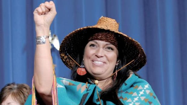 Deborah Parker, former vice chairwoman of the Tulalip Tribes of Washington State, seen here in March 2013, is one of several activists portrayed in Mary Kathryn Nagle's play 'Sliver of a Full Moon.' Parker will be on hand when the play is staged in New Haven on March 31. (AP Photo/Susan Walsh)