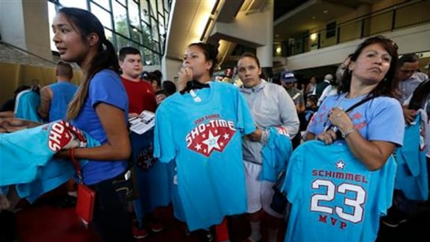 Fans wait in line to purchase Shoni Schimmel T-shirts at the Atlanta Dream vs. Seattle Storm game on Aug. 7, 2014 in Seattle. Schimmel, who grew up on the Umatilla Indian Reservation in Oregon, played to a sold out crowd.
