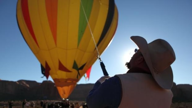 Getting a balloon ready to fly above the Navajo Nation's Monument Valley