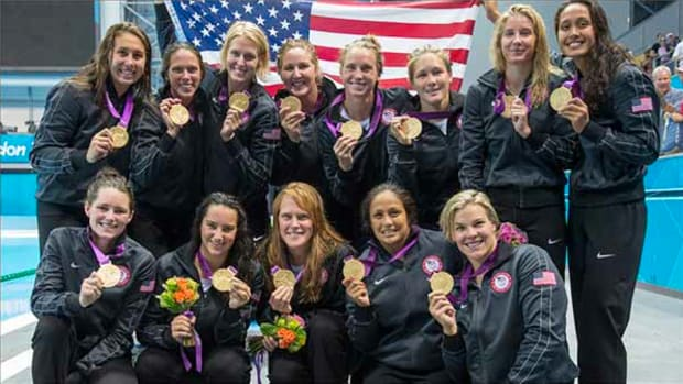 """I will always love this team,"" said ""phenom"" goalie (far right) Tumua Anae (Native Hawaiian) of her Gold Medal U.S. Olympic Water Polo Team in London."