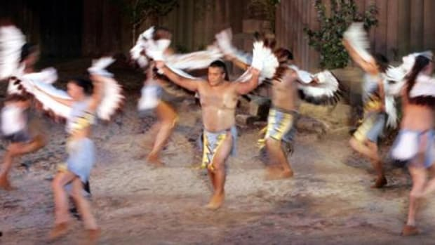 "Actors perform the Eagle Dance during a performance of the outdoor drama, ""Unto These Hills."""