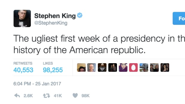 "Stephen King, referred to as the master of the macabre, tweeted on January 25 that President Donald Trump's first week in the White House has been ""the ugliest first week of a presidency in the history of the American republic."""