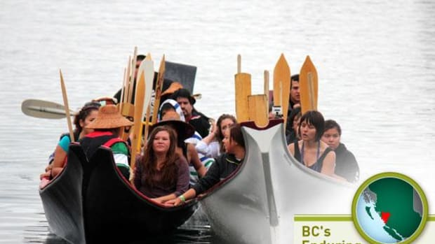 On July 27, 2012, when the National Energy Board's Joint Review Panel held a hearing on the proposed Northern Gateway pipeline on Denny Island, Heiltsuk paddlers canoed from Bella Bella to express their opposition to the project.